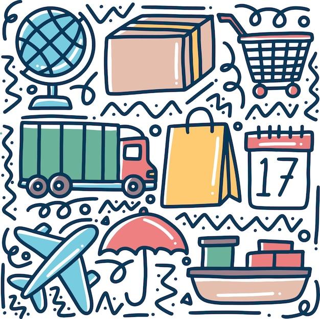 Insieme di doodle di consegna disegnata a mano e shopping online di spedizione con icone ed elementi di design