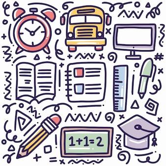 Doodle set di strumenti scolastici disegnati a mano con icone ed elementi di design