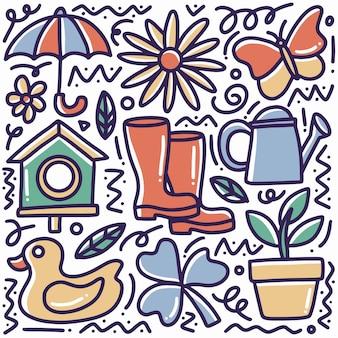 Insieme di doodle del tempo di primavera disegnati a mano con icone ed elementi di design