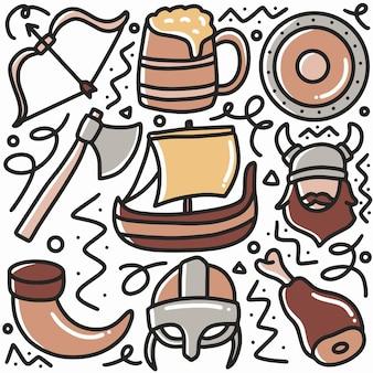Insieme di strumenti di elementi vichinghi a mano con icone ed elementi di design di doodle
