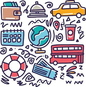 Insieme di doodle del disegno della mano di vacanze con icone ed elementi di design