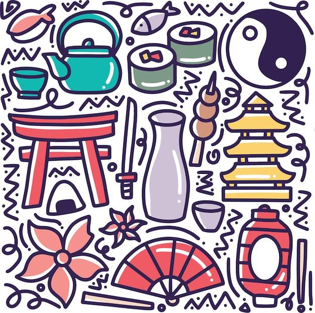Insieme di doodle del giappone vacanze mano disegno con icone ed elementi di design