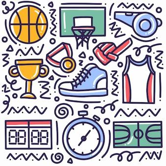 Insieme di doodle di sport disegno a mano con icone ed elementi di design