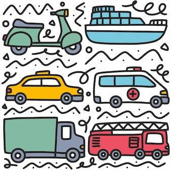 Insieme di doodle di disegno a mano di trasporto con icone ed elementi di design