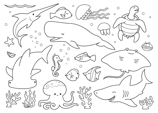 Doodle set animali sott'acqua