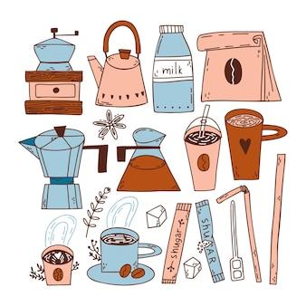 Doodle set con chicchi di caffè tazze di caffè sacchetto di carta caffè geyser macchina da caffè cubetti