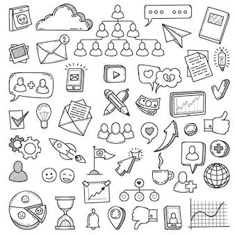 Scarabocchiare i social media. disegna social network, comunicazione amichevole come smartphone di rete, telefono, set di vettori di computer comunità web. illustrazione media social marketing, icone web