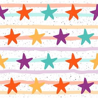 Fondo senza cuciture della stella di doodle. modello a stella astratto infantile per biglietti, inviti, album, album di ritagli, carta da regalo, tessuto, indumento, carta da parati, design di t-shirt ecc.