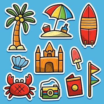 Illustrazione disegnata a mano della spiaggia del fumetto dell'autoadesivo di scarabocchio
