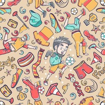 Doodle street soccer icon set pattern sfondo senza giunture