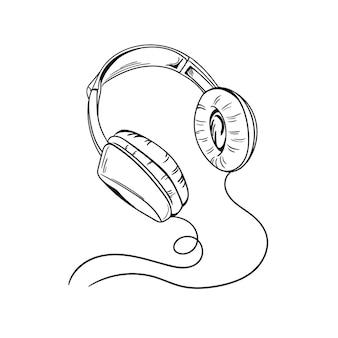 Cuffie in bianco e nero stile doodle line art sketch