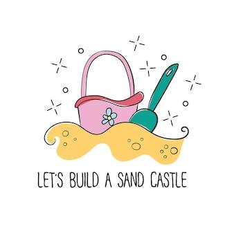 Secchio e pala del castello di sabbia della spiaggia dei bambini di stile doodle in formato vettoriale per la stampa di t-shirt, isolato su sfondo bianco
