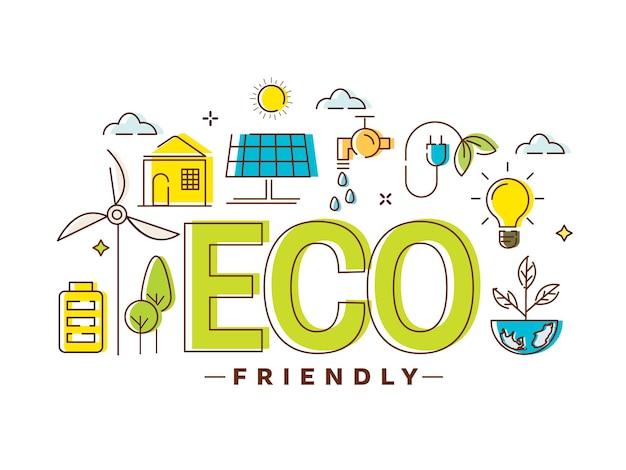 Doodle stile elementi eco friendly su sfondo bianco.