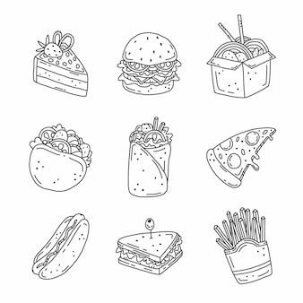 Set di fast food in stile doodle.