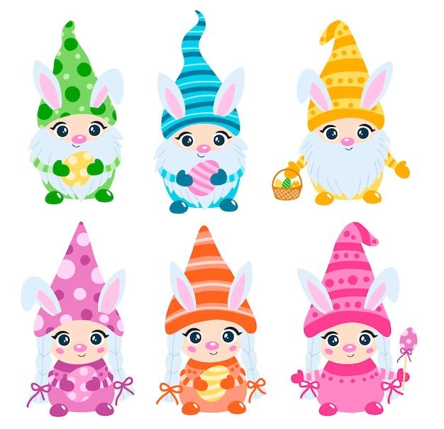 Gnomi pasquali scandinavi piatti stile doodle con orecchie da coniglio impostate