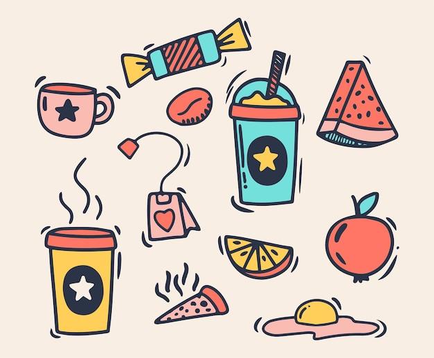 Disegno a mano in stile scarabocchio. cibo e bevande. illustrazione vettoriale isolato.