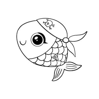 Pesce pirata stile doodle isolato su bianco. pagina da colorare di pirati animali