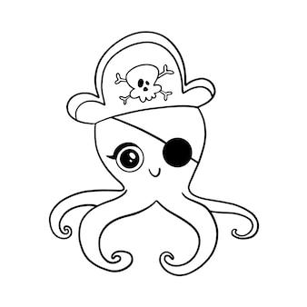 Polpo pirata stile doodle isolato su bianco. pagina da colorare di pirati animali