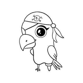 Pappagallo pirata stile doodle isolato su bianco. pagina da colorare di pirati animali