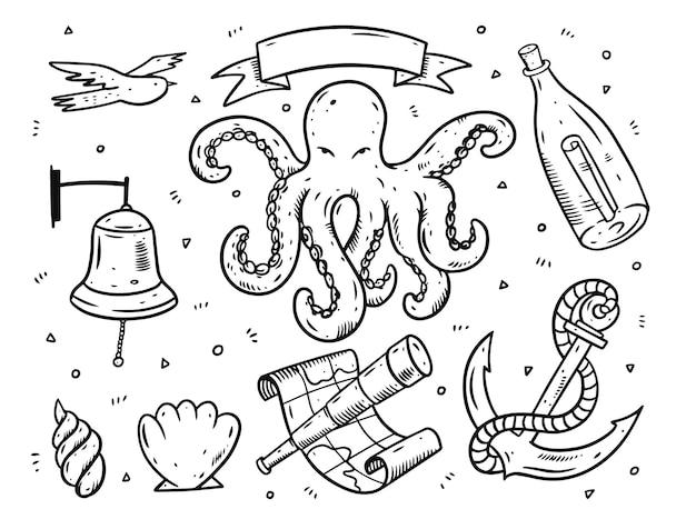 Insieme di elementi del mare in stile doodle.
