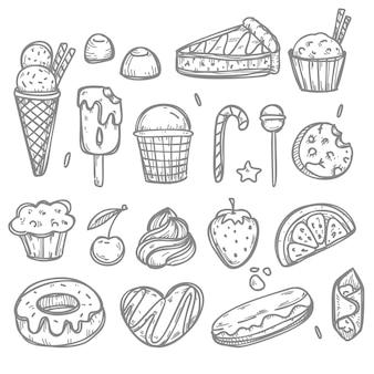 Elementi di dolci e caramelle di doodle. illustrazione disegnata a mano