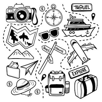 Scarabocchiare, viaggiare, esplorare, linea arte, vettore, isolated