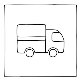 Icona del camion di doodle, disegnata a mano con una linea sottile, isolata su priorità bassa bianca. illustrazione vettoriale.