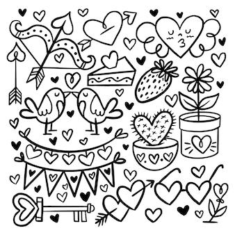 Pacchetto di elementi di san valentino di doodle