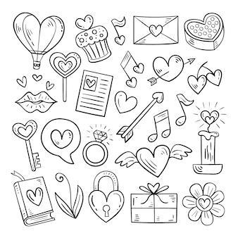 Doodle insieme di elementi di san valentino