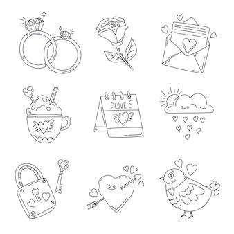 Doodle set di elementi di san valentino