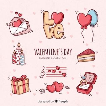 Doodle raccolta di elementi di san valentino