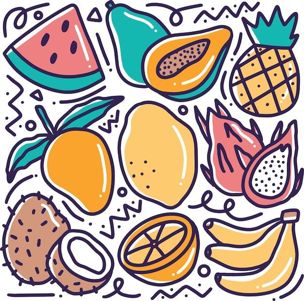 Doodle disegno a mano di raccolta vari frutti con icone ed elementi di design