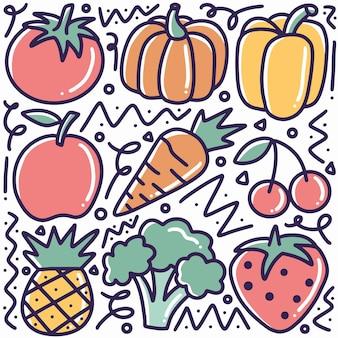 Doodle vari disegno a mano di raccolta di frutta e verdura con icone ed elementi di design