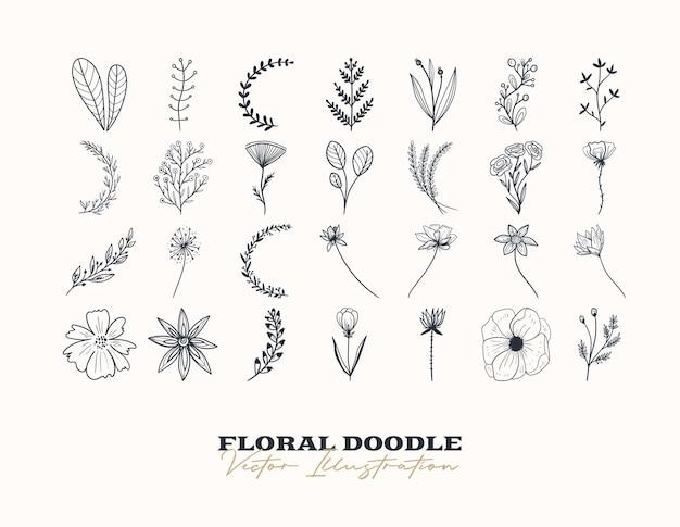 Doodle set di fiori vettoriali elementi decorativi disegnati a mano per il design