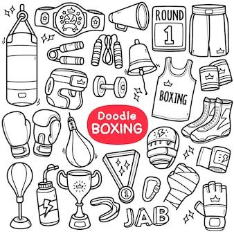 Doodle vector set attrezzature relative allo sport da boxe come cintura di abbigliamento da combattimento ecc