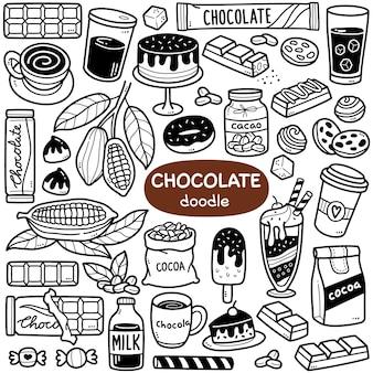 Doodle vector set cacao e prodotti a base di cioccolato come il gelato al cacao in polvere di fave di cacao ecc