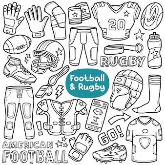 Doodle vector set attrezzature e oggetti relativi al calcio e al rugby come tacchetti in jersey, ecc