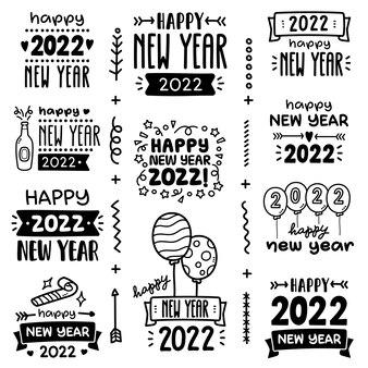 Insieme di vettore di scarabocchio auguri di buon anno 2022