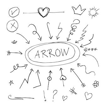 Scarabocchii l'illustrazione stabilita di vettore con il vettore di stile di arte della linea di tiraggio della mano. corona, re, sole, freccia, cuore, amore, stella, vortice, picchiate, enfasi, per il concept design