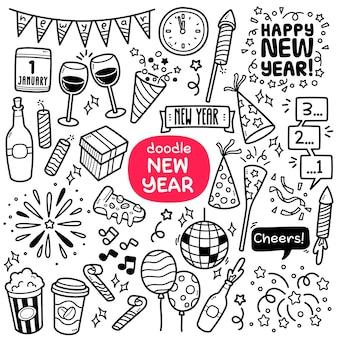 Doodle vector set oggetti relativi alla festa di capodanno come la festa del conto alla rovescia dei fuochi d'artificio ecc