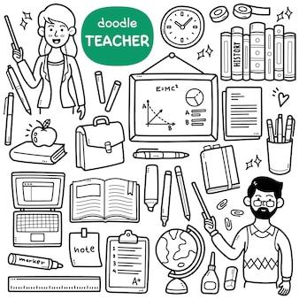 Doodle vector set oggetti relativi all'insegnante come la borsa del globo dei libri della lavagna ecc