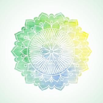 Doodle e fiore dell'acquerello. elemento grafico dipinto a mano. boho e mandala in stile etnico. arte decorativa per biglietti d'auguri, inviti per matrimoni e baby shower, scrapbooking. illustrazione vettoriale.