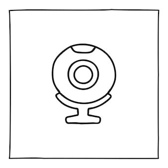 Doodle icona o logo del computer della web cam, disegnata a mano con una sottile linea nera. isolato su sfondo bianco. illustrazione vettoriale