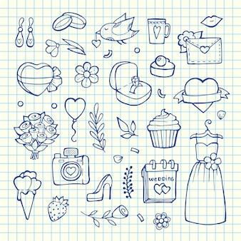 Doodle elementi di nozze impostare illustrationon