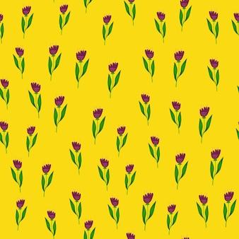 Doodle seamless pattern di fiori di campo su sfondo giallo.