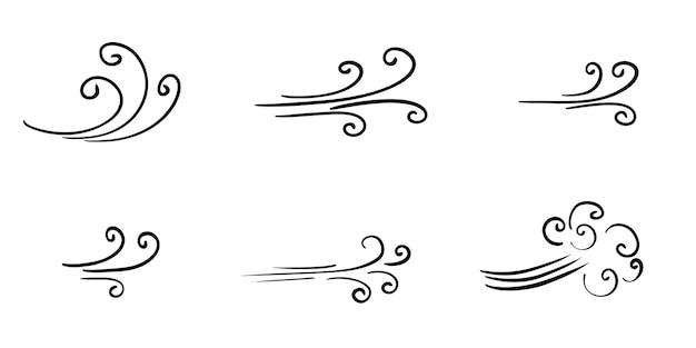 Scarabocchio di raffica di vento isolato su uno sfondo bianco. illustrazione vettoriale disegnato a mano.