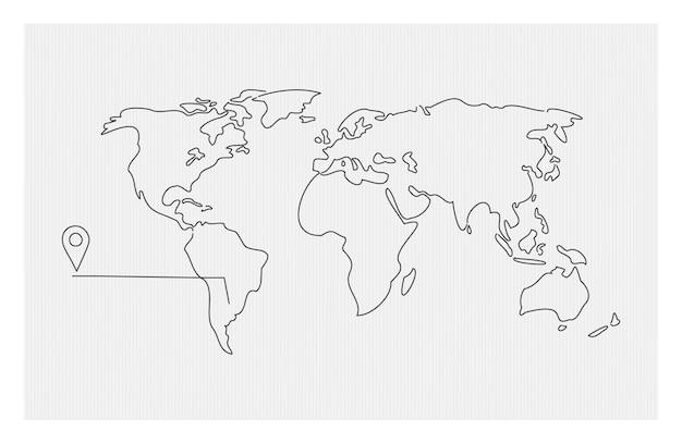 Doodle mappa del mondo con geotag