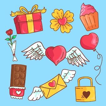 Elementi scarabocchiati di san valentino