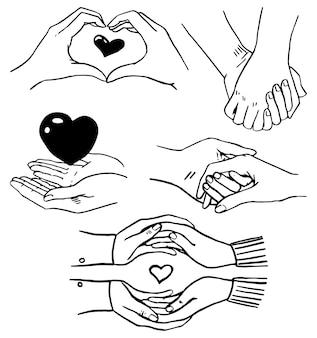 Scarabocchi collezione di mani di coppie amorose. elementi di schizzo di gesti delle mani romantici isolati su bianco. illustrazioni vettoriali disegnate a mano. disegni di contorno per il design delle vacanze di san valentino, stampe, biglietti
