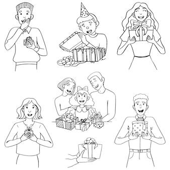 Doodles illustrazioni insieme di persone gioiose con regali. concetto di accettare o dare presente. accumulazione di vettore disegnato a mano in stile piatto semplice. disegni di contorno isolati su bianco per il design.
